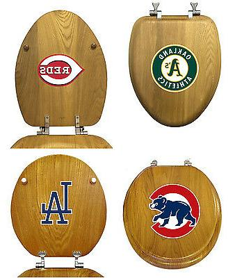 mlb team logo oak finish wood round