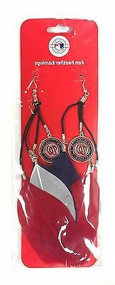 NEW WASHINGTON NATIONALS FEATHER HOOK EARRINGS w/ CHARMS CUT