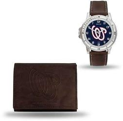 MLB Washington Nationals Brown Faux Leather Watch & Wallet S