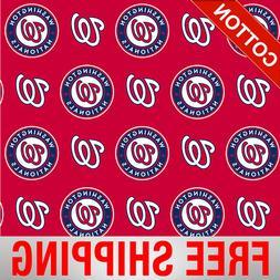 "Washington Nationals MLB Cotton Fabric - 58"" Wide - Style# 6"